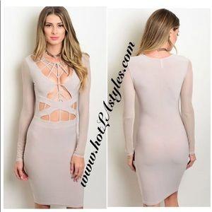 Beige sexy cutout dress